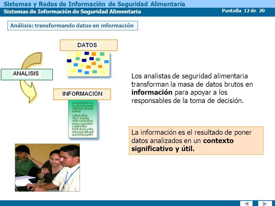 Pantalla 12 de 20 Sistemas y Redes de Información de Seguridad Alimentaria Sistemas de Información de Seguridad Alimentaria Los analistas de seguridad