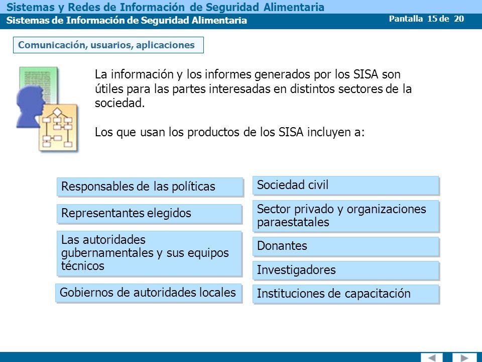 Pantalla 15 de 20 Sistemas y Redes de Información de Seguridad Alimentaria Sistemas de Información de Seguridad Alimentaria Responsables de las políti