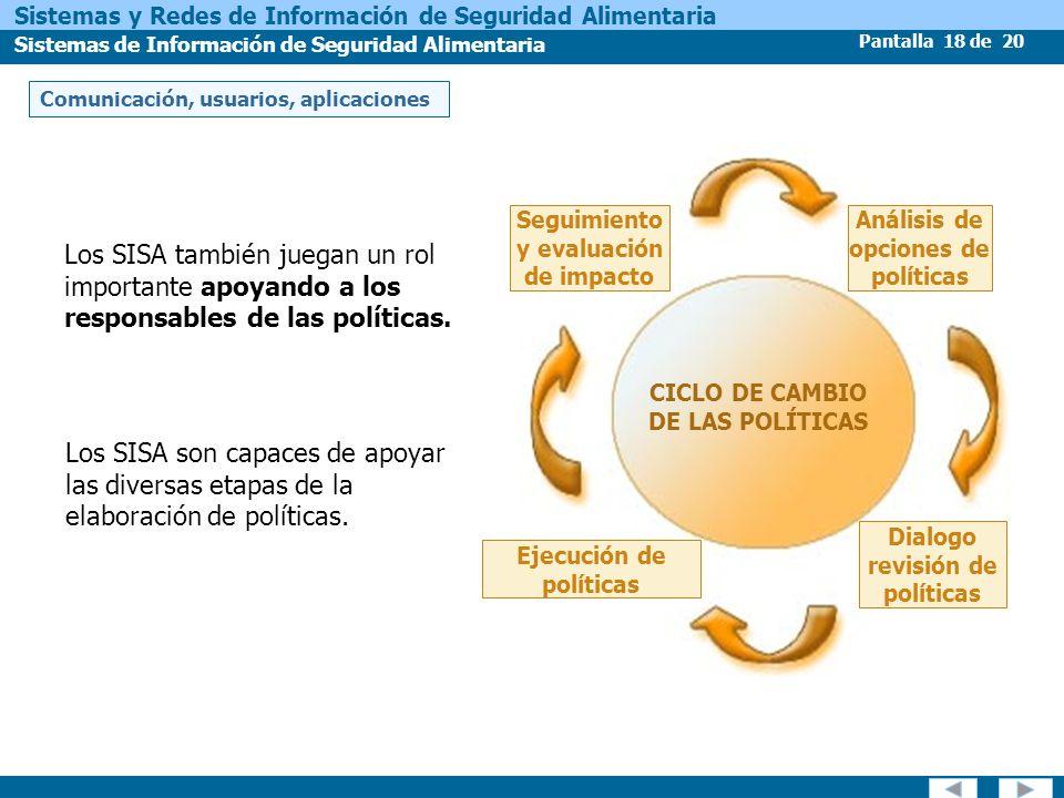 Pantalla 18 de 20 Sistemas y Redes de Información de Seguridad Alimentaria Sistemas de Información de Seguridad Alimentaria Los SISA son capaces de ap