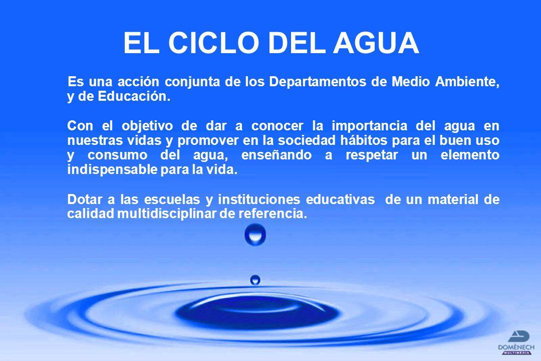 EL CICLO DEL AGUA Es una acción conjunta de los Departamentos de Medio Ambiente, y de Educación. Con el objetivo de dar a conocer la importancia del a