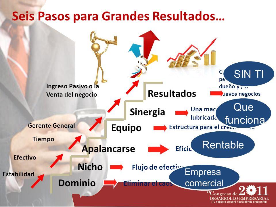 Dominio Nicho Apalancarse Equipo Sinergia Resultados Estabilidad Efectivo Tiempo Gerente General Ingreso Pasivo o la Venta del negocio Eliminar el cao