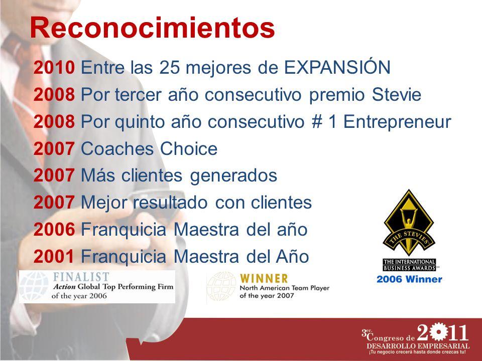 Reconocimientos 2010 Entre las 25 mejores de EXPANSIÓN 2008 Por tercer año consecutivo premio Stevie 2008 Por quinto año consecutivo # 1 Entrepreneur