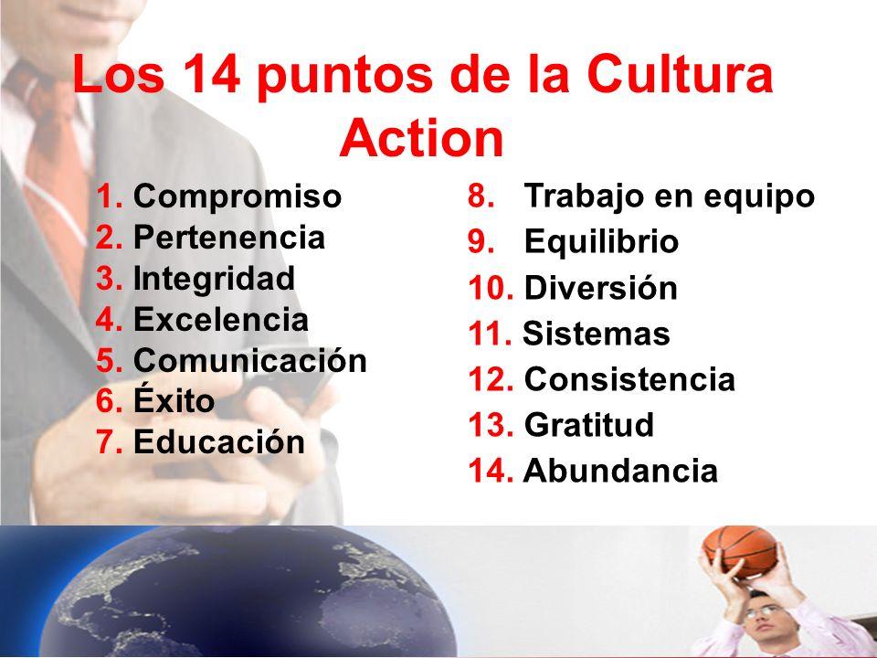 Los 14 puntos de la Cultura Action 1. Compromiso 2. Pertenencia 3. Integridad 4. Excelencia 5. Comunicación 6. Éxito 7. Educación 8. Trabajo en equipo