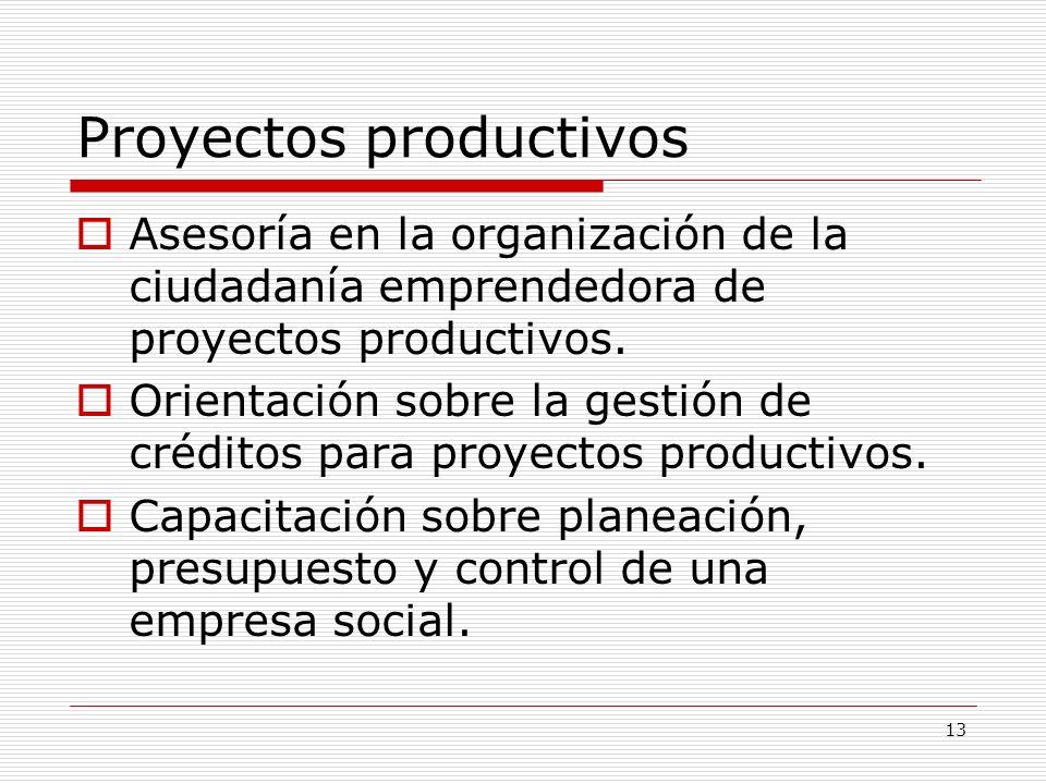 13 Proyectos productivos Asesoría en la organización de la ciudadanía emprendedora de proyectos productivos. Orientación sobre la gestión de créditos