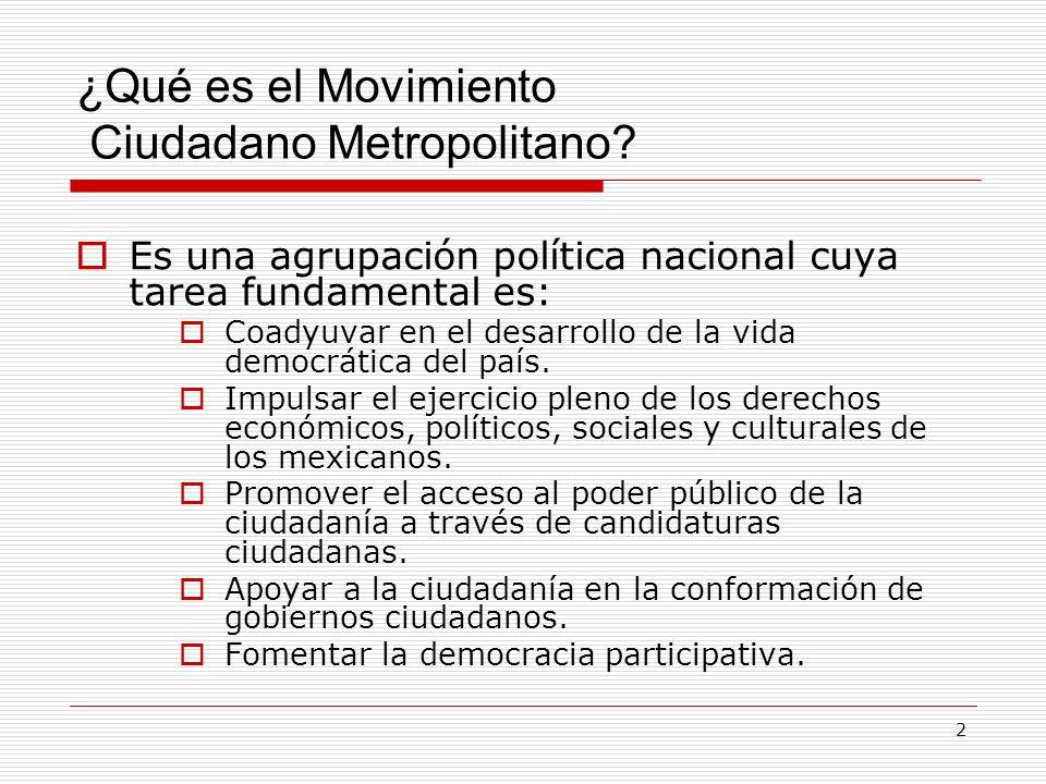 2 ¿Qué es el Movimiento Ciudadano Metropolitano? Es una agrupación política nacional cuya tarea fundamental es: Coadyuvar en el desarrollo de la vida