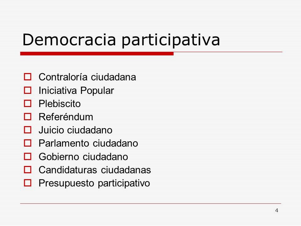 4 Democracia participativa Contraloría ciudadana Iniciativa Popular Plebiscito Referéndum Juicio ciudadano Parlamento ciudadano Gobierno ciudadano Can