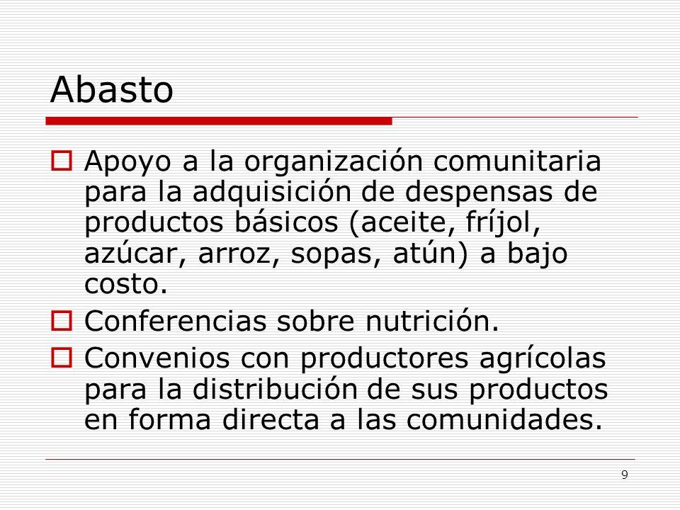 9 Abasto Apoyo a la organización comunitaria para la adquisición de despensas de productos básicos (aceite, fríjol, azúcar, arroz, sopas, atún) a bajo