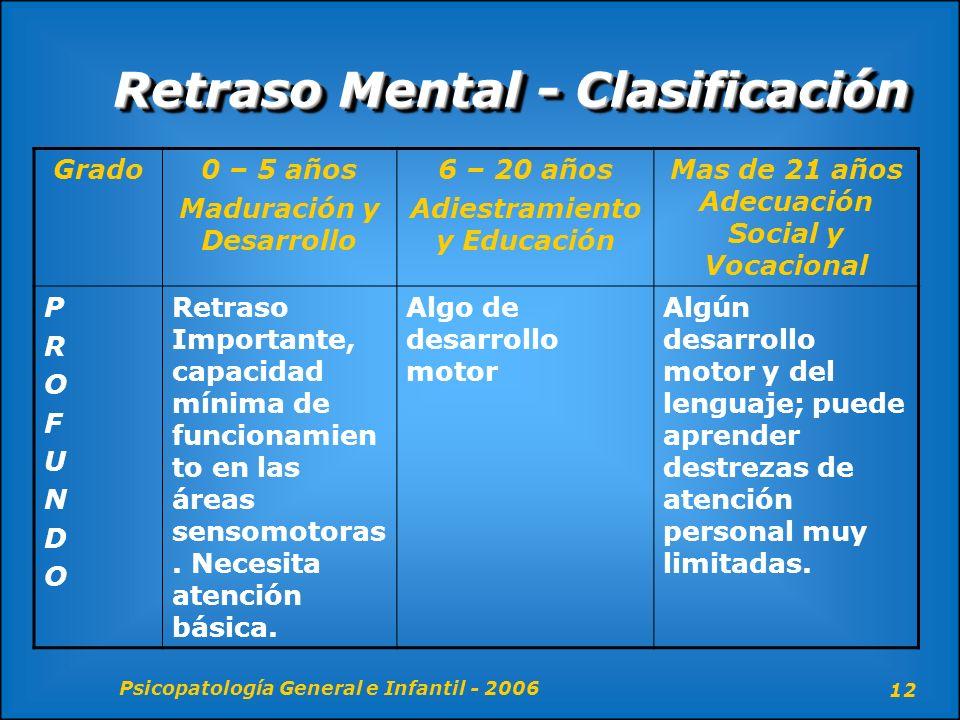 Psicopatología General e Infantil - 2006 12 Retraso Mental - Clasificación Grado0 – 5 años Maduración y Desarrollo 6 – 20 años Adiestramiento y Educac