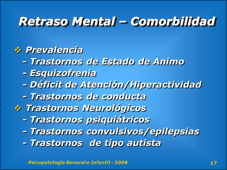Psicopatología General e Infantil - 2006 17 Retraso Mental – Comorbilidad Prevalencia - Trastornos de Estado de Animo - Esquizofrenia - Déficit de Ate