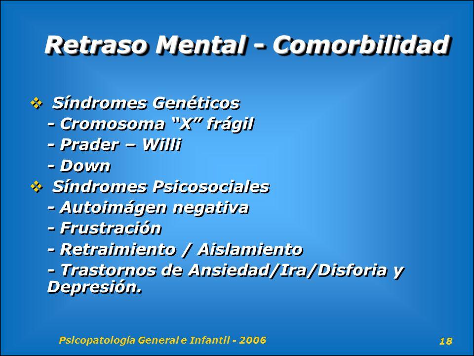 Psicopatología General e Infantil - 2006 18 Retraso Mental - Comorbilidad Síndromes Genéticos - Cromosoma X frágil - Prader – Willi - Down Síndromes P