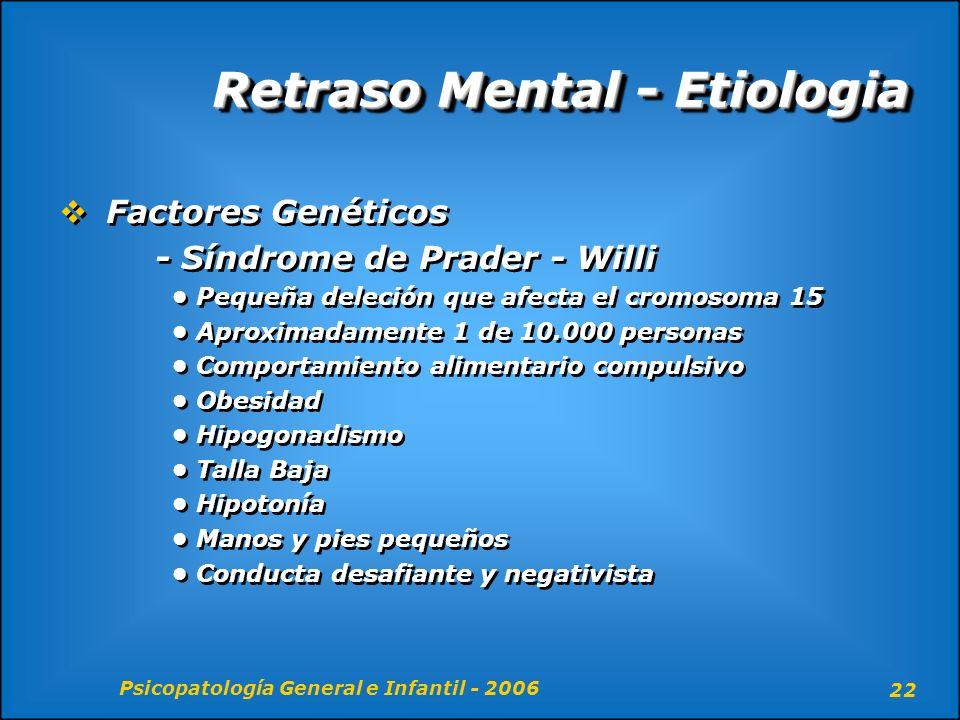 Psicopatología General e Infantil - 2006 22 Retraso Mental - Etiologia Factores Genéticos - Síndrome de Prader - Willi Pequeña deleción que afecta el