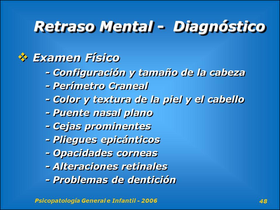 Psicopatología General e Infantil - 2006 48 Retraso Mental - Diagnóstico Examen Físico - Configuración y tamaño de la cabeza - Perímetro Craneal - Col