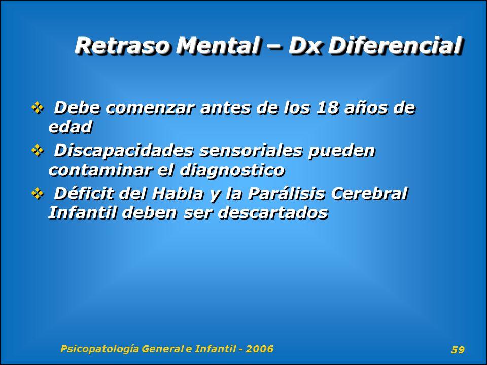 Psicopatología General e Infantil - 2006 59 Retraso Mental – Dx Diferencial Debe comenzar antes de los 18 años de edad Discapacidades sensoriales pued