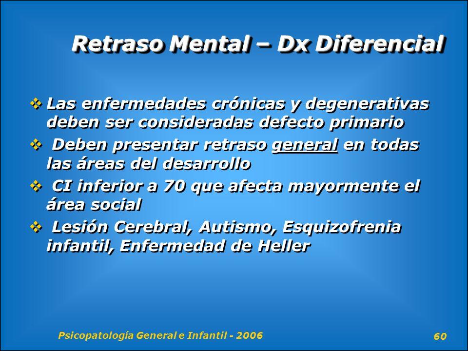 Psicopatología General e Infantil - 2006 60 Retraso Mental – Dx Diferencial Las enfermedades crónicas y degenerativas deben ser consideradas defecto p