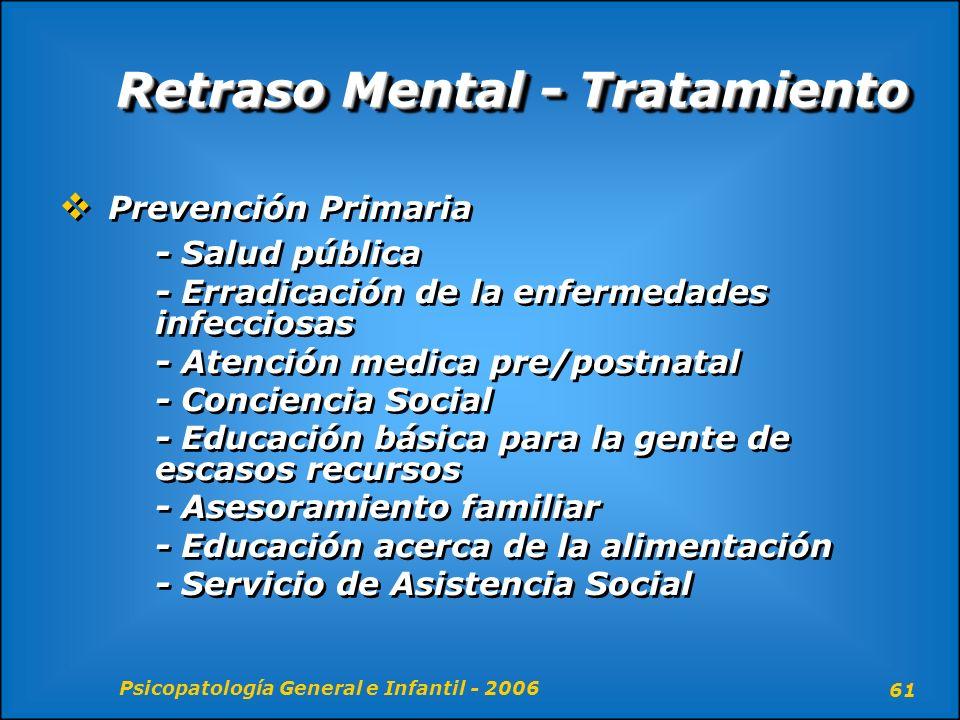 Psicopatología General e Infantil - 2006 61 Retraso Mental - Tratamiento Prevención Primaria - Salud pública - Erradicación de la enfermedades infecci