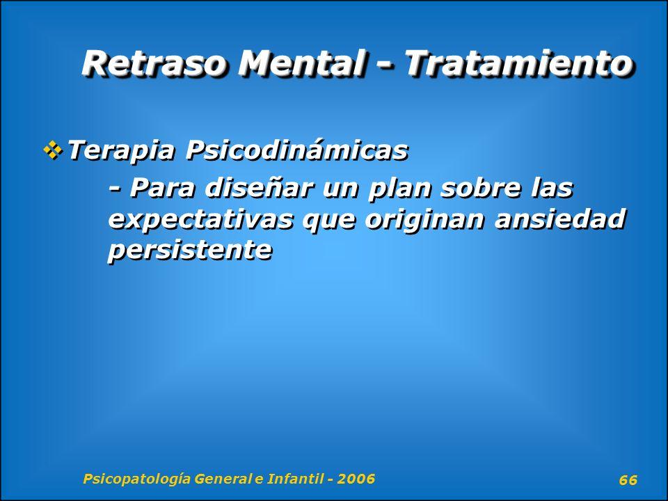 Psicopatología General e Infantil - 2006 66 Retraso Mental - Tratamiento Terapia Psicodinámicas - Para diseñar un plan sobre las expectativas que orig