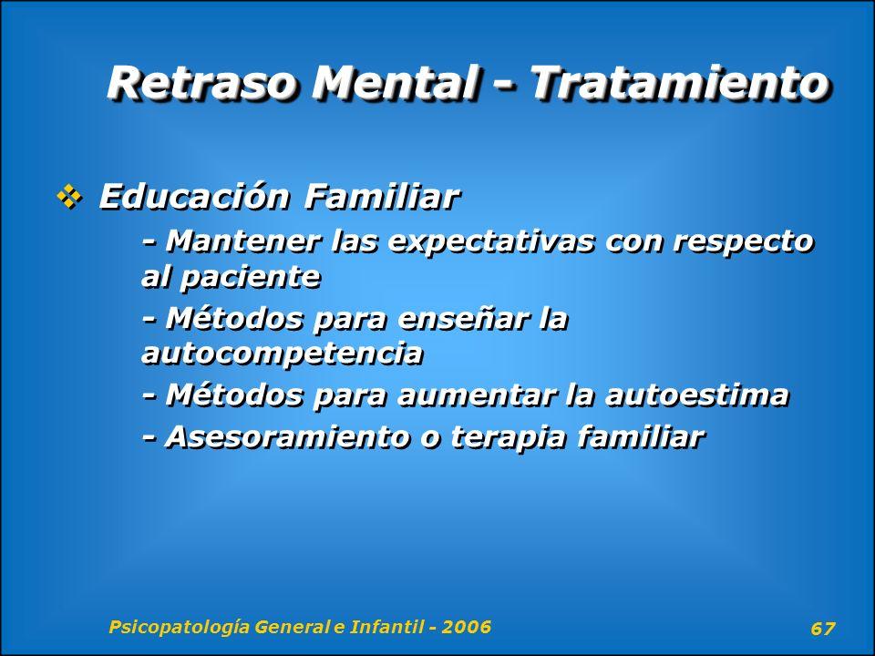 Psicopatología General e Infantil - 2006 67 Retraso Mental - Tratamiento Educación Familiar - Mantener las expectativas con respecto al paciente - Mét
