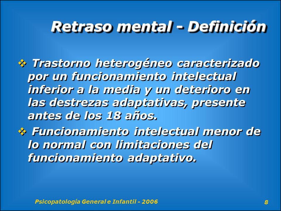 Psicopatología General e Infantil - 2006 59 Retraso Mental – Dx Diferencial Debe comenzar antes de los 18 años de edad Discapacidades sensoriales pueden contaminar el diagnostico Déficit del Habla y la Parálisis Cerebral Infantil deben ser descartados Debe comenzar antes de los 18 años de edad Discapacidades sensoriales pueden contaminar el diagnostico Déficit del Habla y la Parálisis Cerebral Infantil deben ser descartados