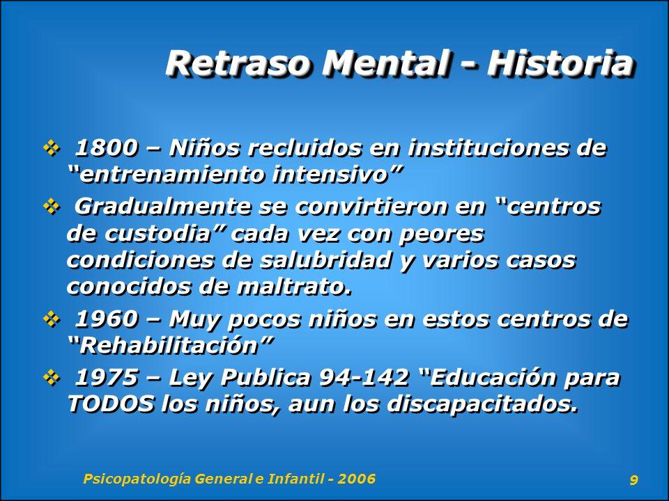 Psicopatología General e Infantil - 2006 10 Retraso Mental - Terminología El término deficiencia mental se usaba hace poco como sinónimo de retraso mental, cuando la Asociación del Retraso Mental decidió optar por ese termino.