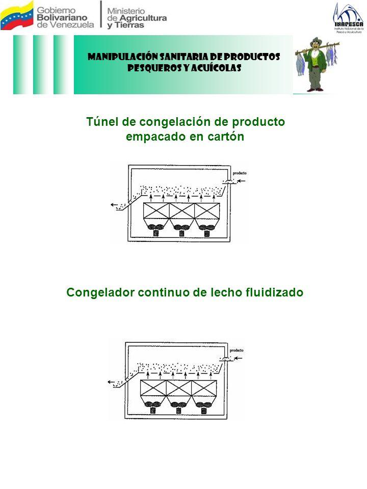 Congelador continuo de lecho fluidizado Túnel de congelación de producto empacado en cartón Manipulación Sanitaria de Productos Pesqueros y Acuícolas