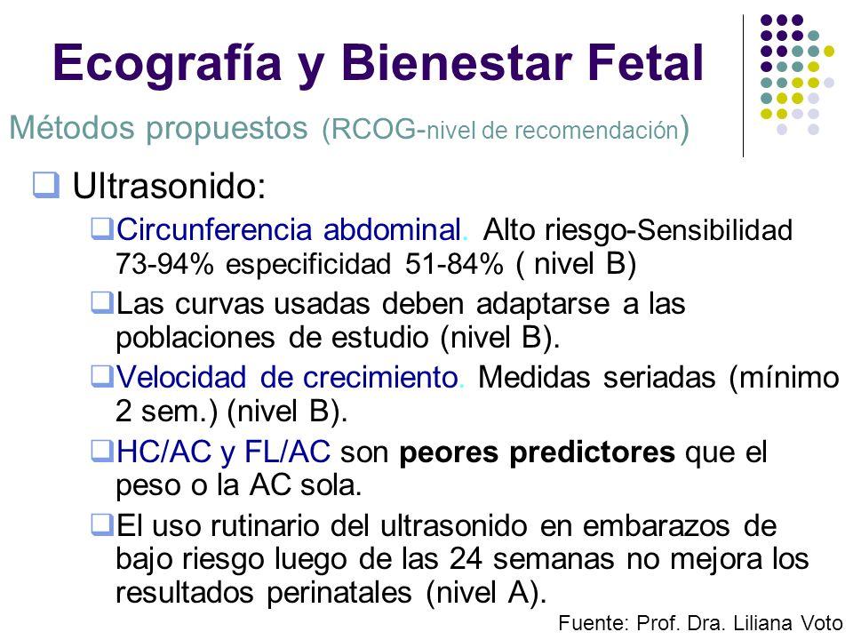 Ecografía y Bienestar Fetal Ultrasonido: Circunferencia abdominal. Alto riesgo- Sensibilidad 73-94% especificidad 51-84% ( nivel B) Las curvas usadas