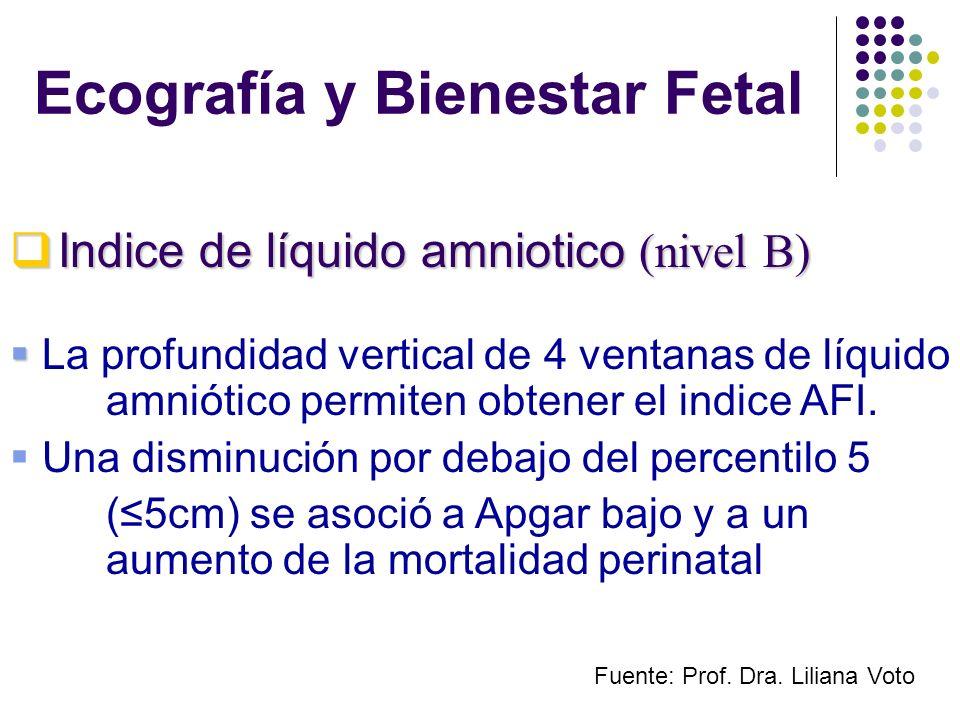 Ecografía y Bienestar Fetal La profundidad vertical de 4 ventanas de líquido amniótico permiten obtener el indice AFI. Una disminución por debajo del