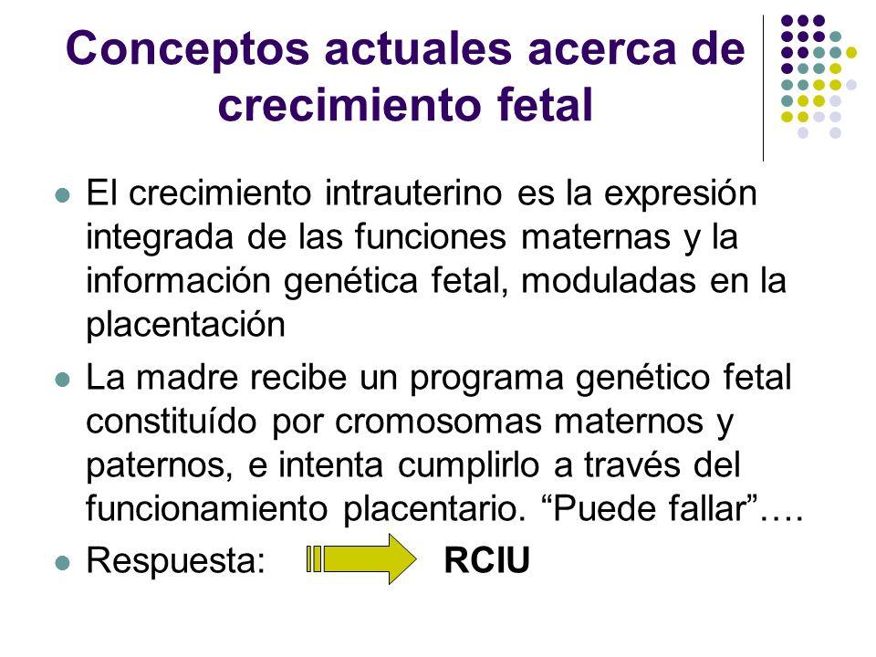 Conceptos actuales acerca de crecimiento fetal El crecimiento intrauterino es la expresión integrada de las funciones maternas y la información genéti