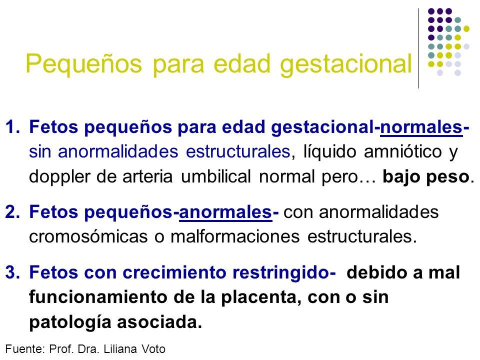 Pequeños para edad gestacional 1.Fetos pequeños para edad gestacional-normales- sin anormalidades estructurales, líquido amniótico y doppler de arteri