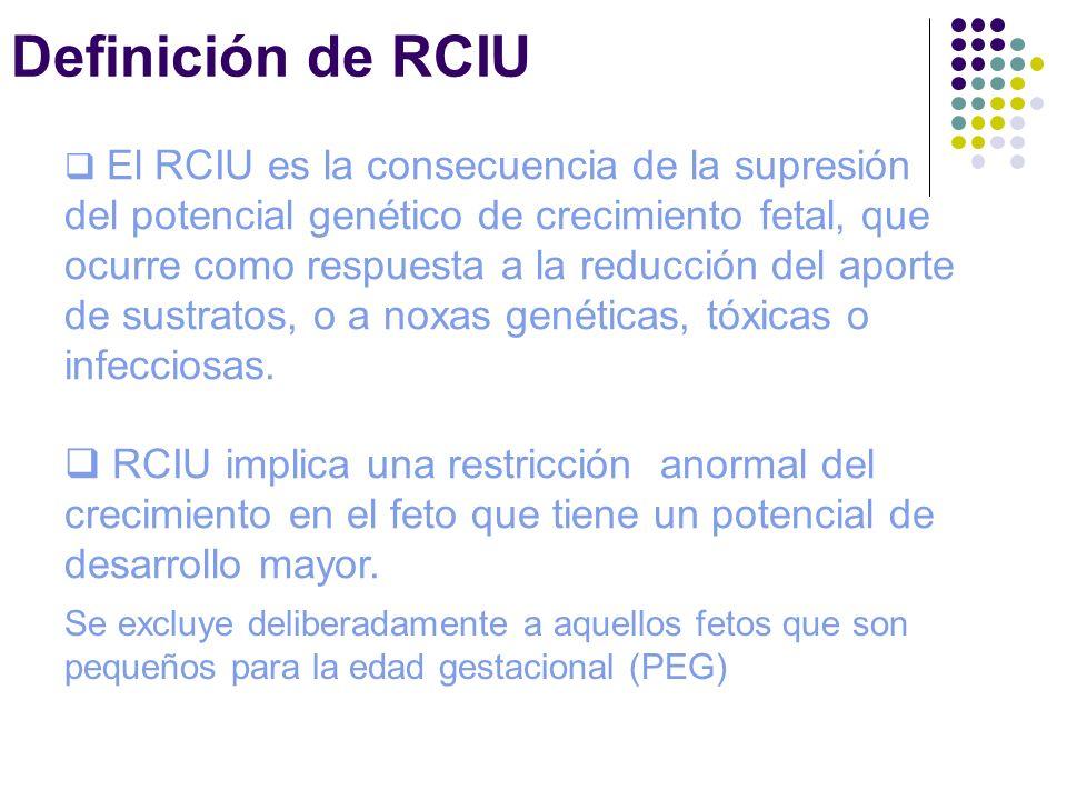 Definición de RCIU El RCIU es la consecuencia de la supresión del potencial genético de crecimiento fetal, que ocurre como respuesta a la reducción de