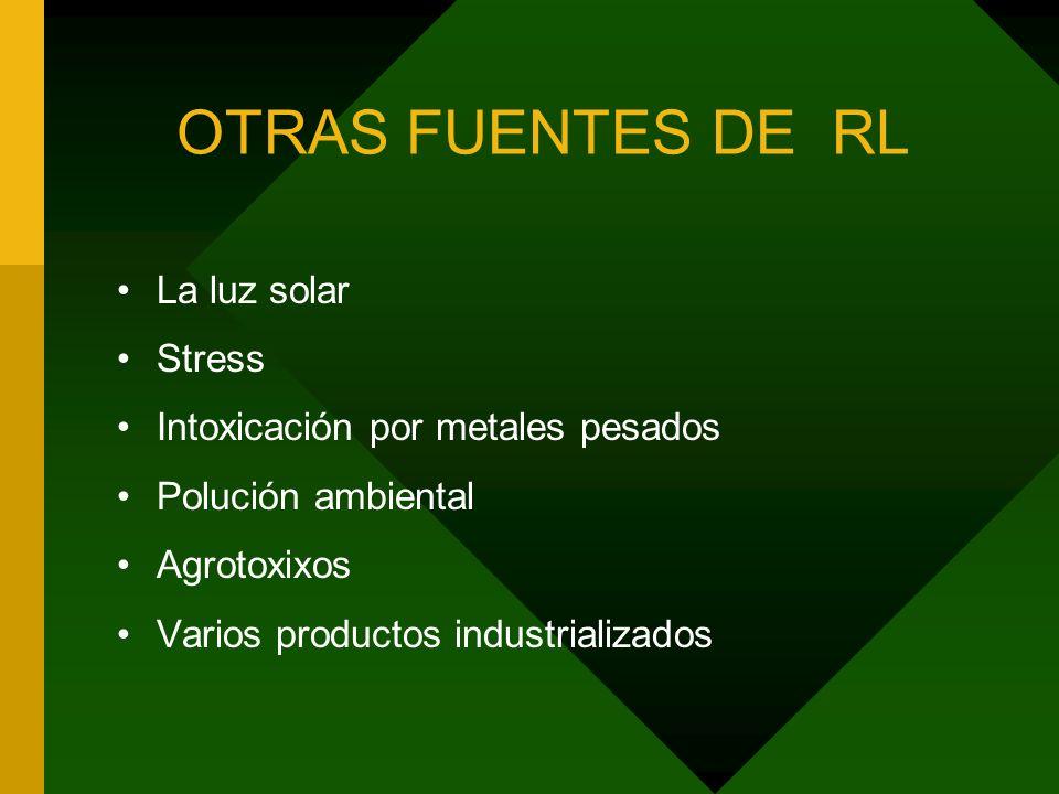 OTRAS FUENTES DE RL La luz solar Stress Intoxicación por metales pesados Polución ambiental Agrotoxixos Varios productos industrializados