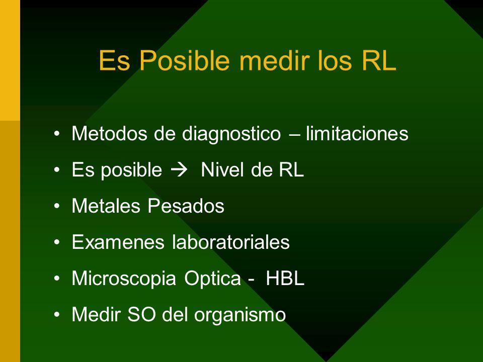 Es Posible medir los RL Metodos de diagnostico – limitaciones Es posible Nivel de RL Metales Pesados Examenes laboratoriales Microscopia Optica - HBL Medir SO del organismo
