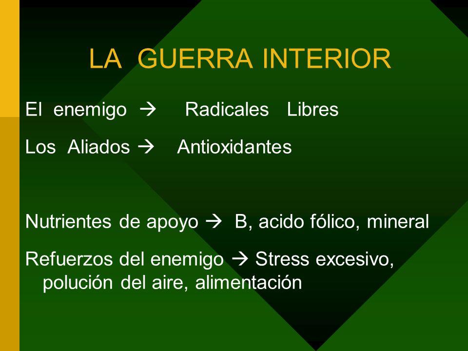 LA GUERRA INTERIOR El enemigo Radicales Libres Los Aliados Antioxidantes Nutrientes de apoyo B, acido fólico, mineral Refuerzos del enemigo Stress excesivo, polución del aire, alimentación