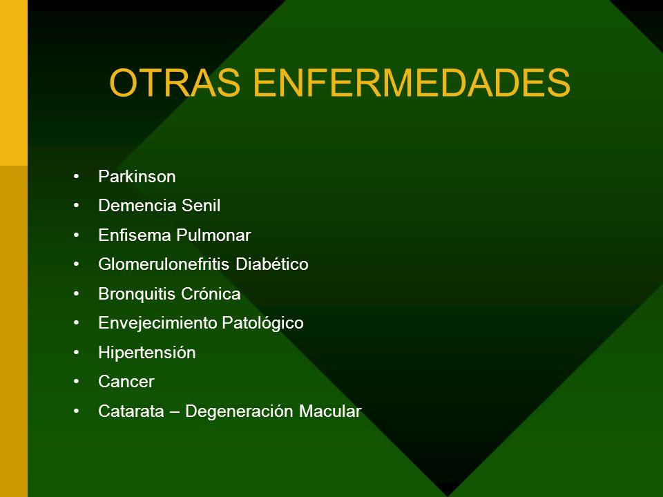 OTRAS ENFERMEDADES Parkinson Demencia Senil Enfisema Pulmonar Glomerulonefritis Diabético Bronquitis Crónica Envejecimiento Patológico Hipertensión Cancer Catarata – Degeneración Macular