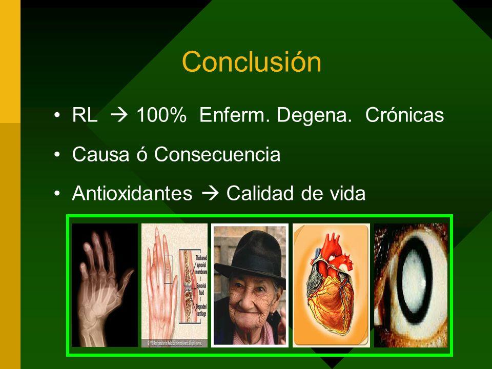 Conclusión RL 100% Enferm. Degena. Crónicas Causa ó Consecuencia Antioxidantes Calidad de vida