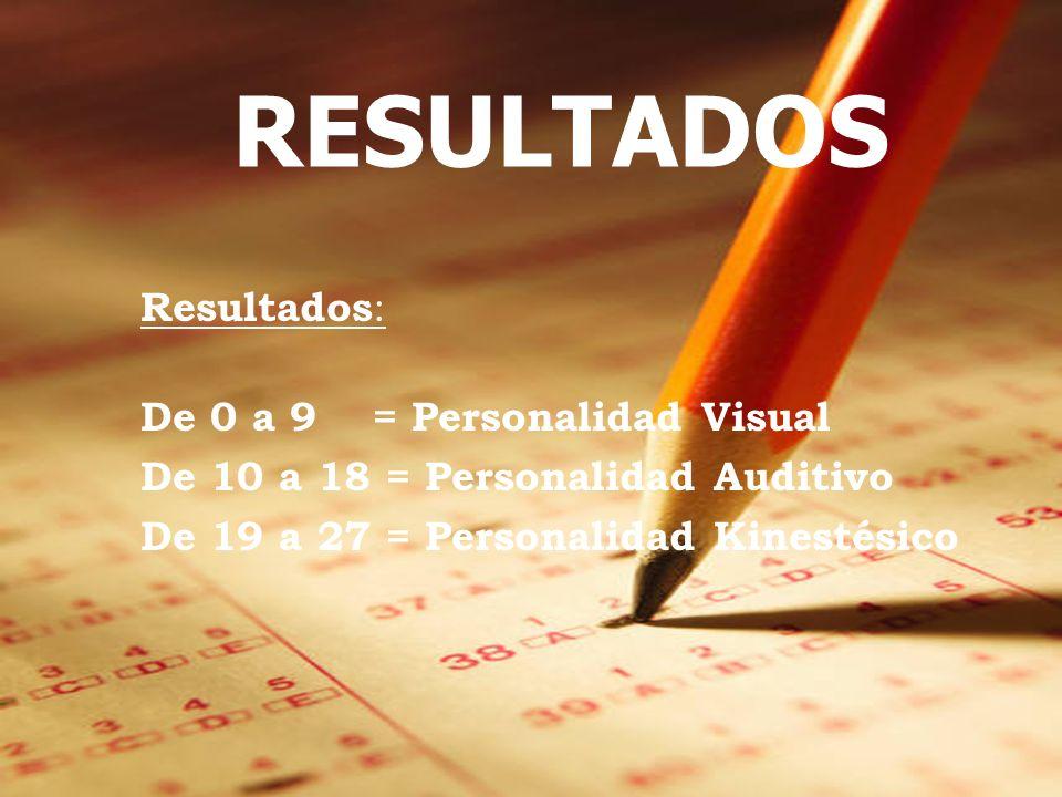 Resultados : De 0 a 9 = Personalidad Visual De 10 a 18 = Personalidad Auditivo De 19 a 27 = Personalidad Kinestésico RESULTADOS