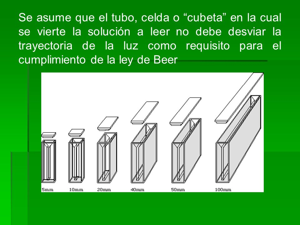 Se asume que el tubo, celda o cubeta en la cual se vierte la solución a leer no debe desviar la trayectoria de la luz como requisito para el cumplimie