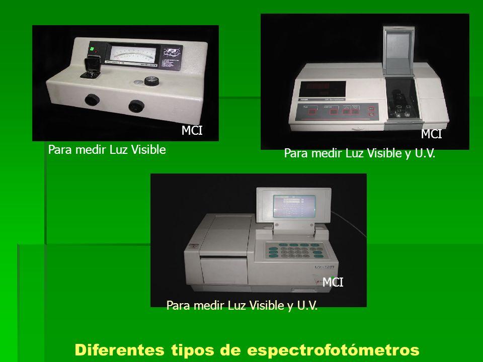Diferentes tipos de espectrofotómetros MCI Para medir Luz Visible Para medir Luz Visible y U.V.