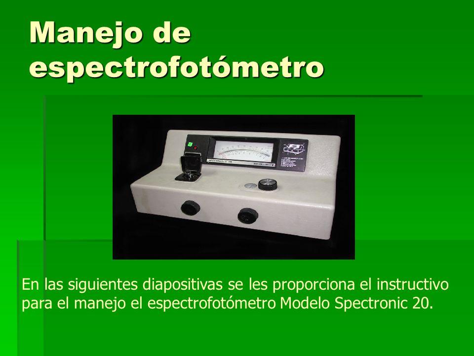 Manejo de espectrofotómetro En las siguientes diapositivas se les proporciona el instructivo para el manejo el espectrofotómetro Modelo Spectronic 20.