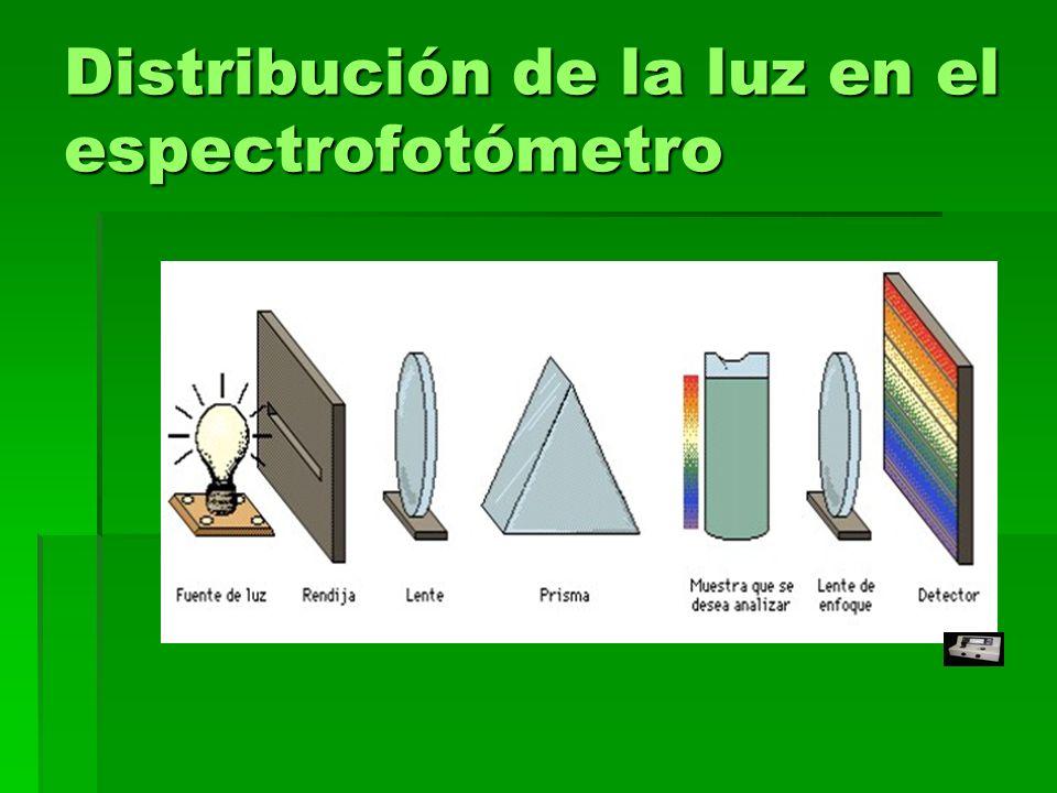 Distribución de la luz en el espectrofotómetro
