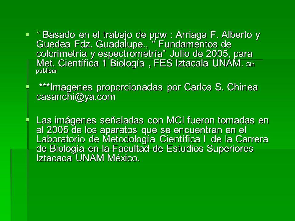 * Basado en el trabajo de ppw : Arriaga F. Alberto y Guedea Fdz. Guadalupe., Fundamentos de colorimetría y espectrometría Julio de 2005, para Met. Cie