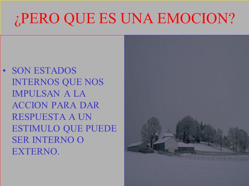 ¿PERO QUE ES UNA EMOCION? SON ESTADOS INTERNOS QUE NOS IMPULSAN A LA ACCION PARA DAR RESPUESTA A UN ESTIMULO QUE PUEDE SER INTERNO O EXTERNO.