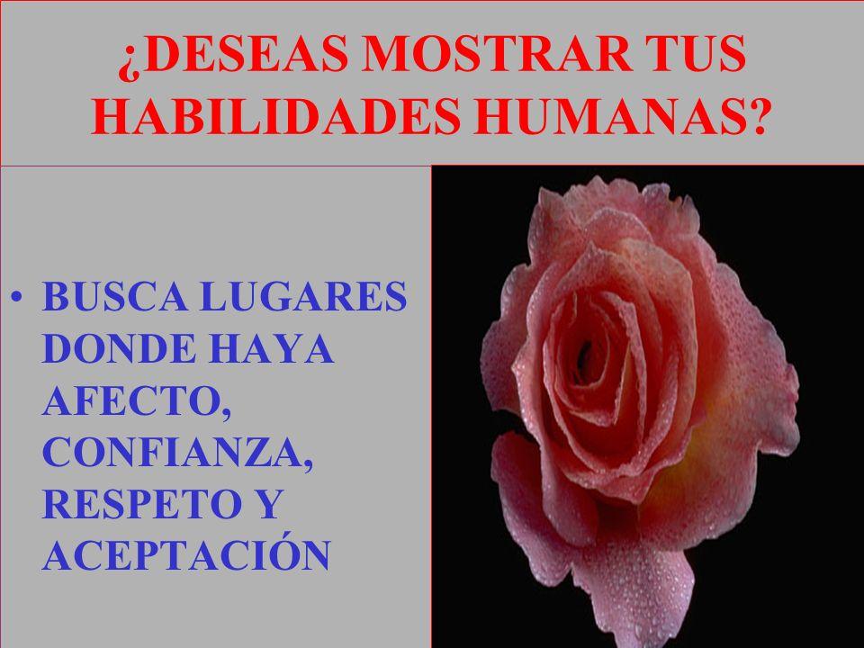 ¿DESEAS MOSTRAR TUS HABILIDADES HUMANAS? BUSCA LUGARES DONDE HAYA AFECTO, CONFIANZA, RESPETO Y ACEPTACIÓN