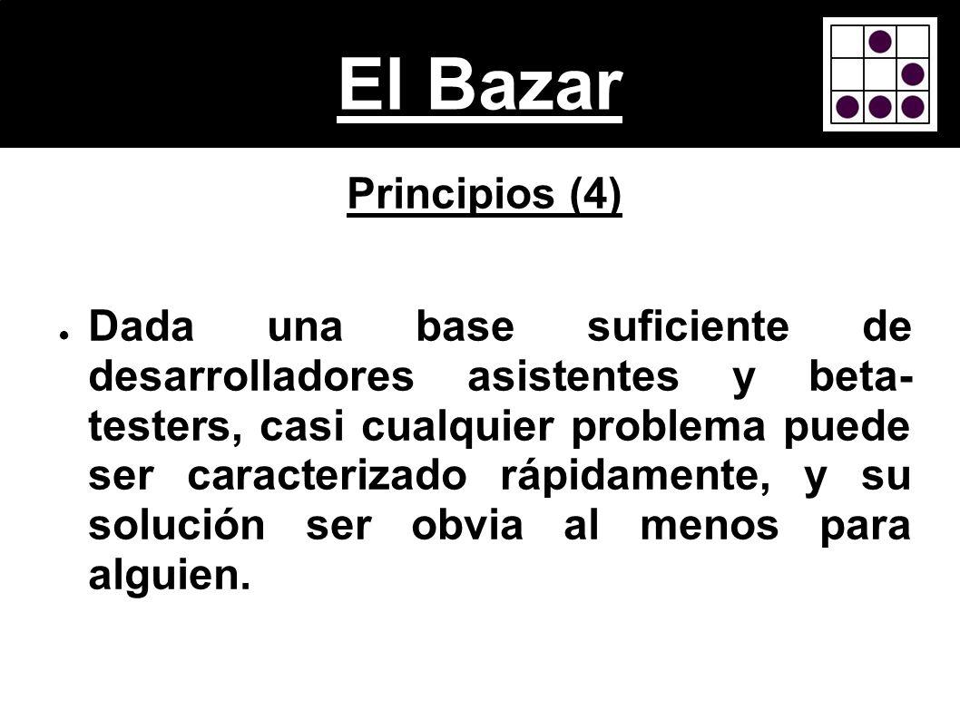 El Bazar Principios (4) Dada una base suficiente de desarrolladores asistentes y beta- testers, casi cualquier problema puede ser caracterizado rápida