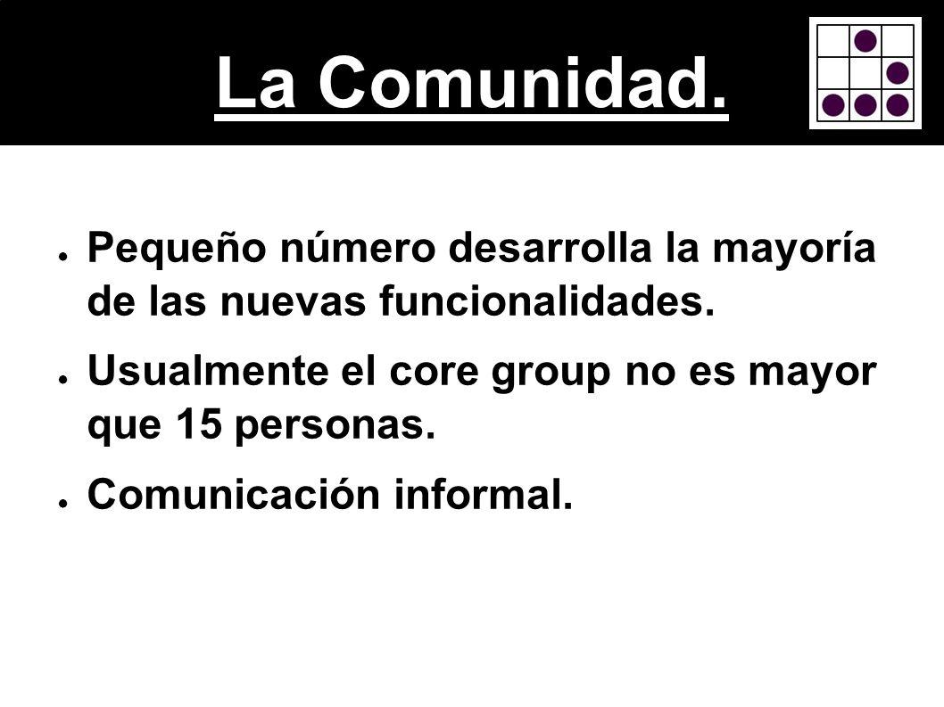 La Comunidad. Pequeño número desarrolla la mayoría de las nuevas funcionalidades. Usualmente el core group no es mayor que 15 personas. Comunicación i