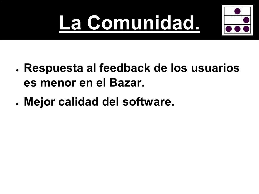 La Comunidad. Respuesta al feedback de los usuarios es menor en el Bazar. Mejor calidad del software.
