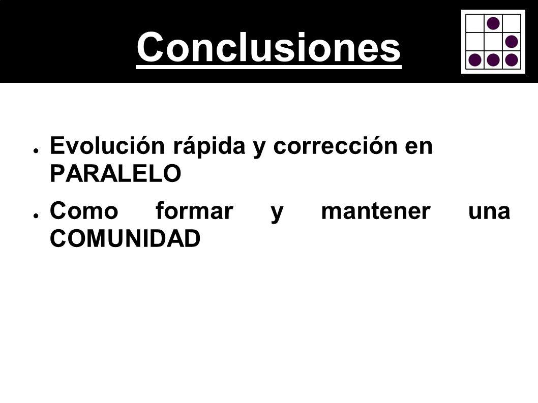 Conclusiones Evolución rápida y corrección en PARALELO Como formar y mantener una COMUNIDAD