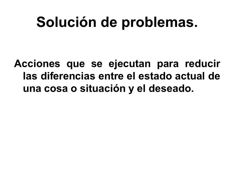 Solución de problemas. Acciones que se ejecutan para reducir las diferencias entre el estado actual de una cosa o situación y el deseado.