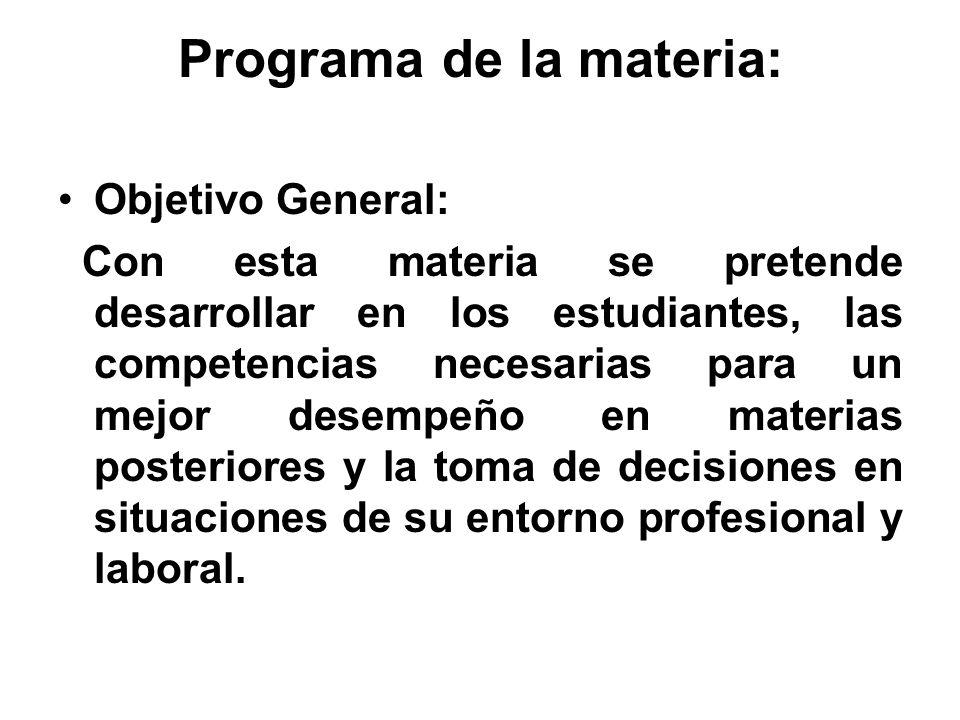 Programa de la materia: Objetivo General: Con esta materia se pretende desarrollar en los estudiantes, las competencias necesarias para un mejor desem