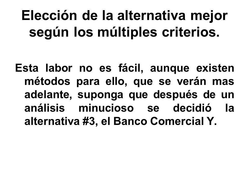 Elección de la alternativa mejor según los múltiples criterios. Esta labor no es fácil, aunque existen métodos para ello, que se verán mas adelante, s