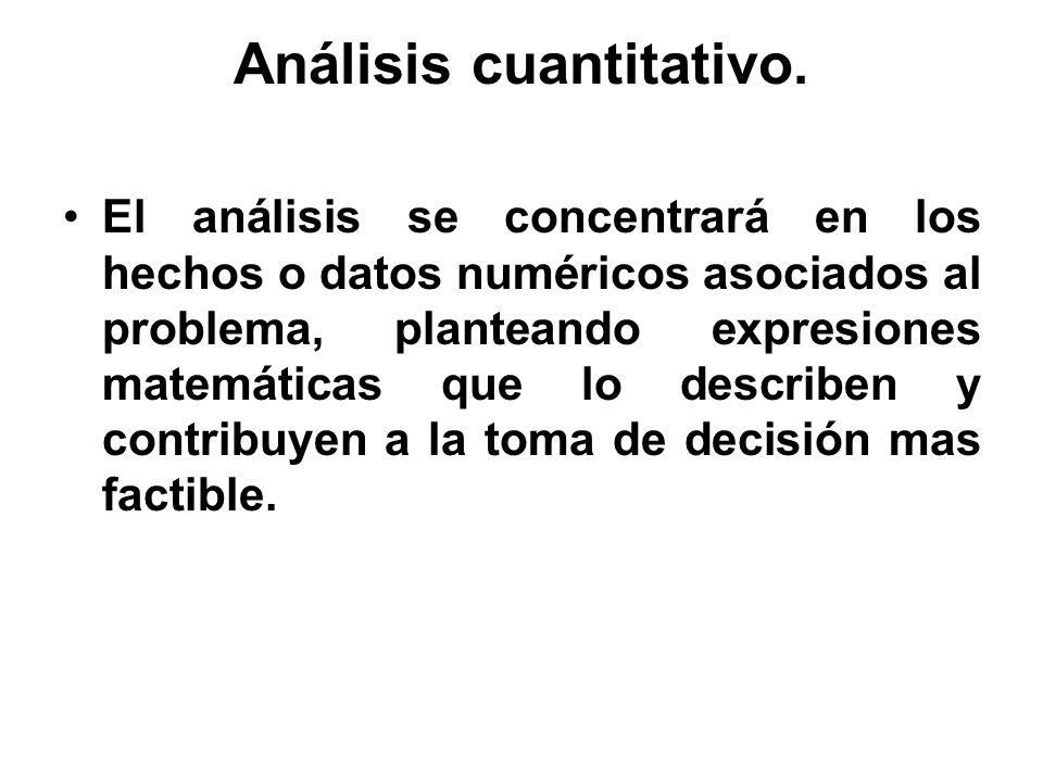 Análisis cuantitativo. El análisis se concentrará en los hechos o datos numéricos asociados al problema, planteando expresiones matemáticas que lo des